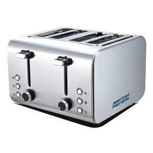 American Micronic AMI-TSS2-150Dx 4-Slice 2in1 Imported Steel Pop-up Toaster