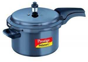 Prestige Deluxe Plus Hard Anodized Outer Lid Pressure Cooker, 5 Litres, Black