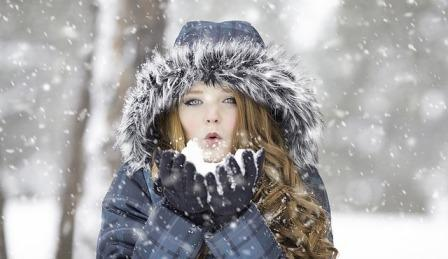 Girl in Snow Fall