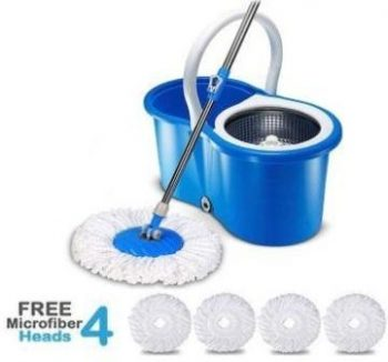 Hugo Mop Bucket Magic Spin Mop Bucket  (With 4 Microfiber Mop Head)