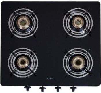 Elica Vetro Glass Top 4 Burner Gas Stove, Best Gas Stove in India