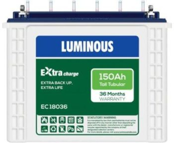 Luminous ExtraCharge E18036 150Ah Tall Tubular Battery, Best Inverter Battery 2021