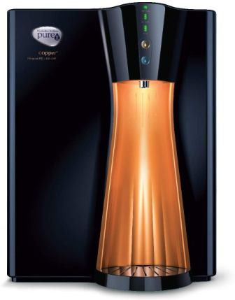 HUL Pureit Copper+ Mineral RO + UV + MF 7 stage Table top and Wall Mountable Black & Copper 8 litres Water Purifier, Best UV Water Purifier in India
